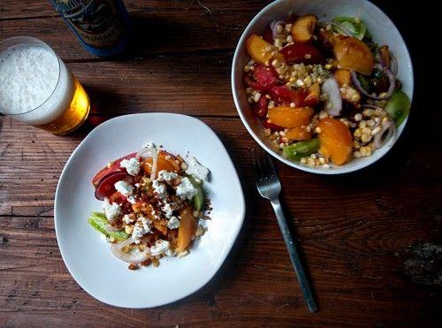 Tomato Peach Corn and Feta Salad   The Table - Salads   Pinterest