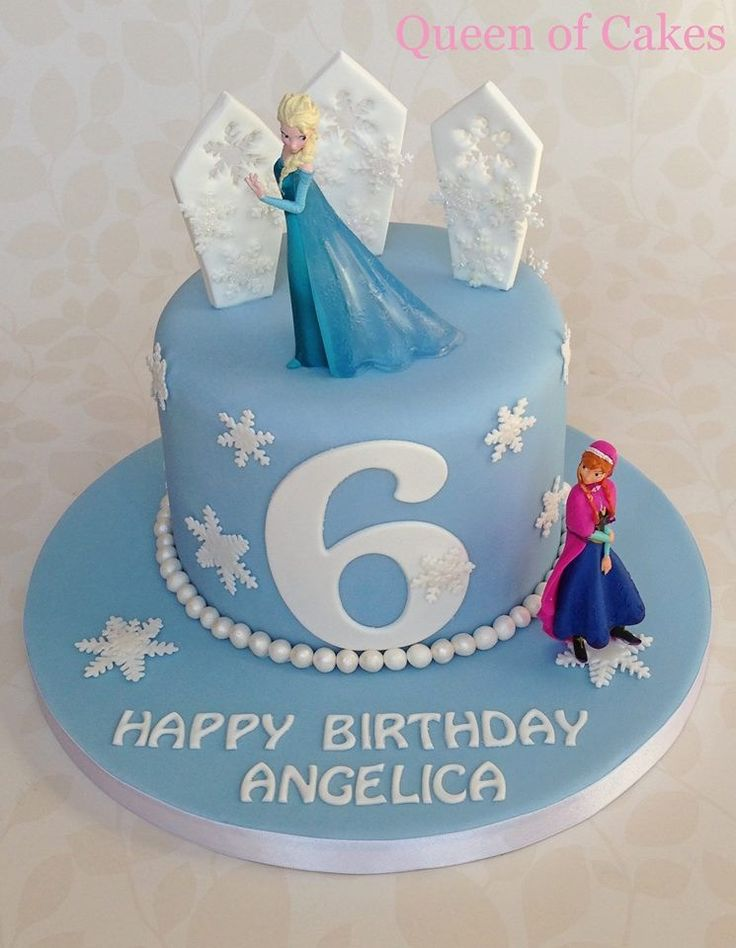 ... frozen birthday cake with Elsa and Anna figures, by Queen of Cakes