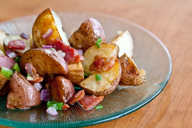 WARM BACON POTATO SALAD Made with roasted red potatoes for over the ...