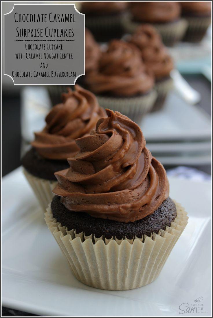 Chocolate Caramel Surprise Cupcakes with a chocolate cupcake, caramel ...
