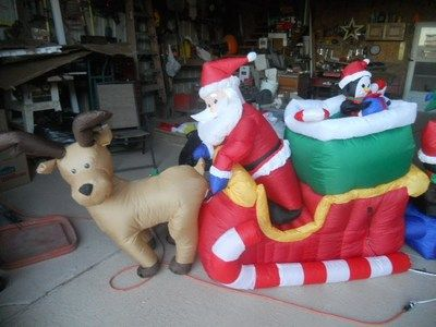 ... Gallery For > Christmas Santa Reindeer Stable Airblown Inflatable 12