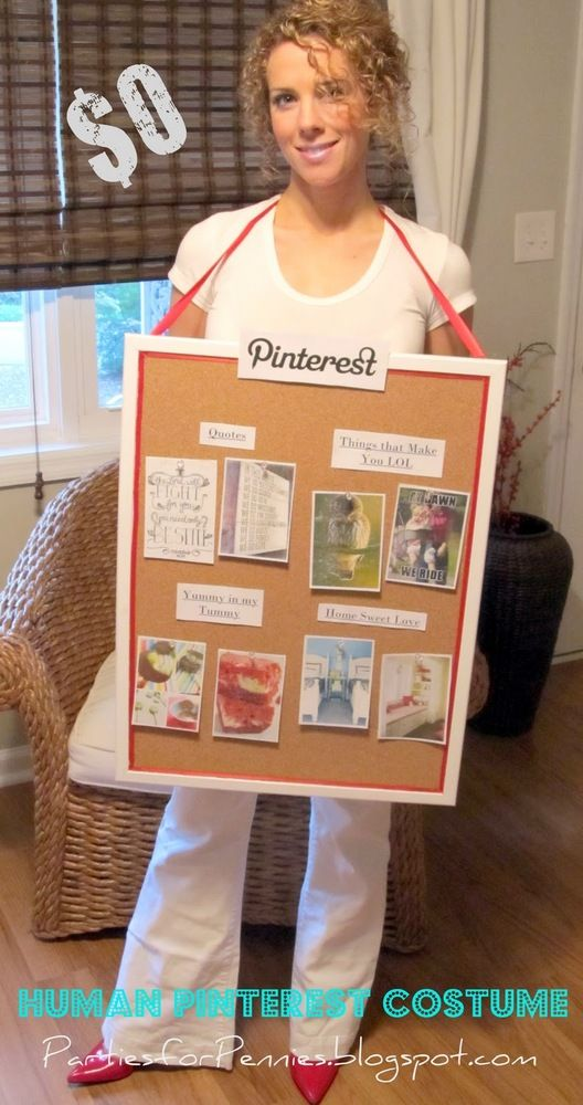 Last-Minute Halloween Costumes - Be a Pinterest board! #Adults #Funny #DIY easy bulletin board