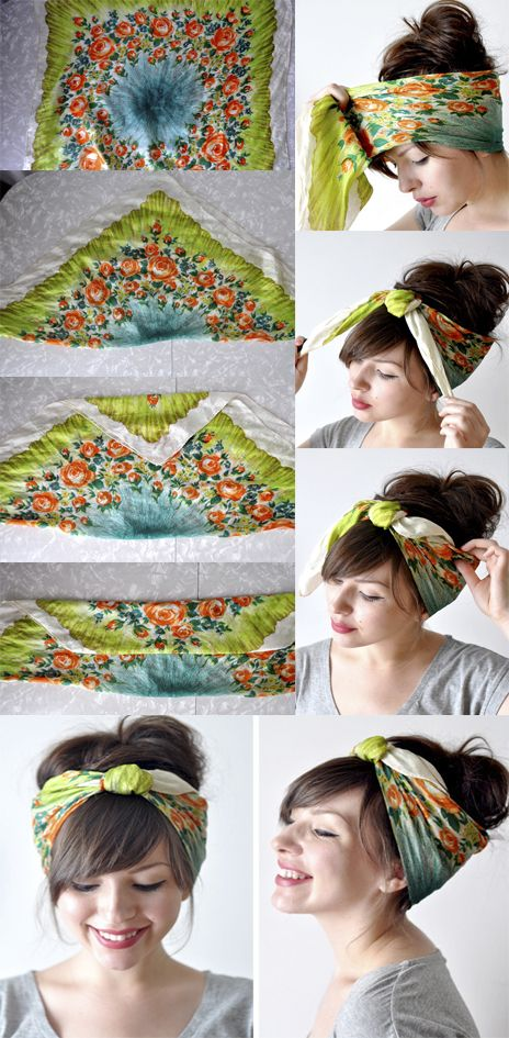 Comb your hair back to a messy bun or any up-do youd like 2) Take a large square scarf & fold one corner to the other forming a triangle 3) Fold the tip of the triangle down to about the middle & then fold over again (Do not fold all the way to the edge) 4) Put the scarf around your head with the ends in the front (Make sure the folded side is against your head so its not showing) 5) Ti...