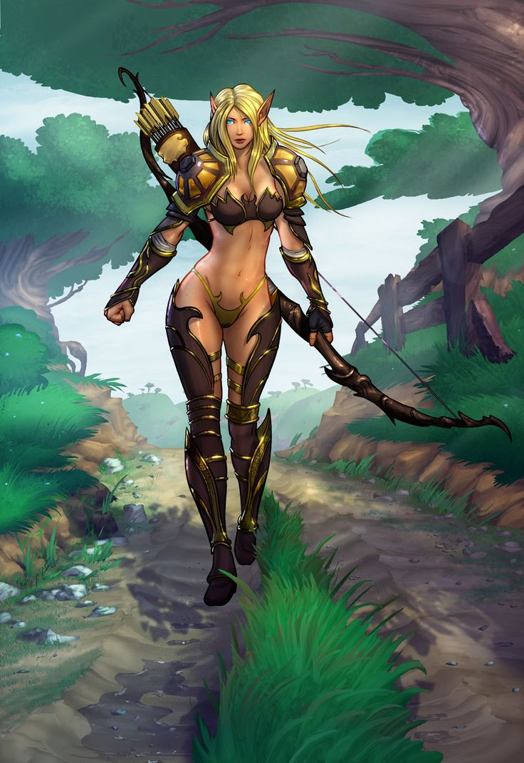 Nude female blood elf art erotic scene