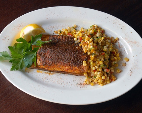 Cedar Planked Whitefish with Roasted Corn Relish http://periandsons ...