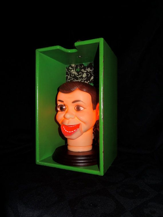 Ventriloquist Doll Dummy Lamp in Green  by PrimAndGrim on #etsy #halloweenlamp #horrordecor #halloweendecoration #ventriloquism