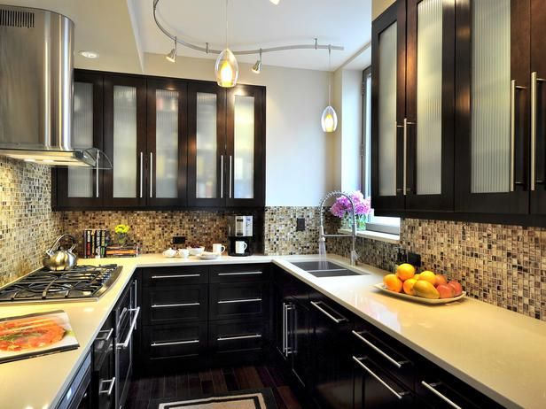 Black cabinets with reed glass doors  Kitchen  Pinterest