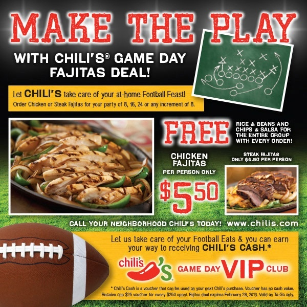 chili's game day fajitas deal | the boys football party | Pinterest