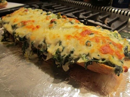 Spinach Artichoke Bread saving the step of making the spread yumyumyum