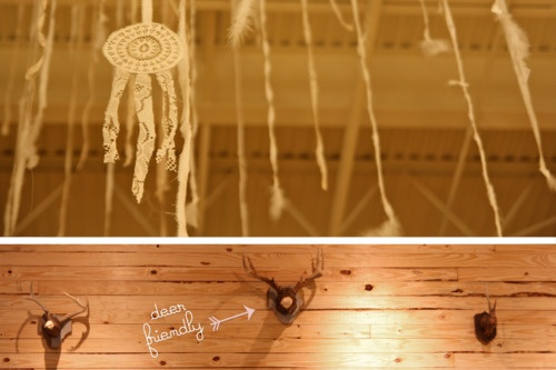 """deer friendly"" Deer Mounts made with Cypress Knees & Deer Sheds! Plus, feather and doily snow #DIY #handmade #LIBBYSTORY"