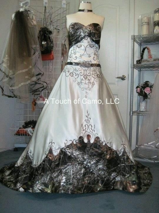 stunning wedding dress with camo accents