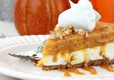 "... Double Layer No-Bake Pumpkin Pie"" using Laurel Gray Chardonnay Caramel"