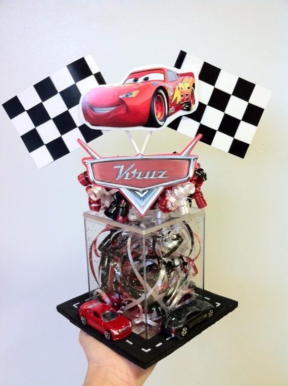 Centerpiece idea party cars pinterest