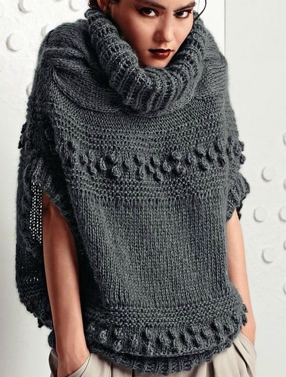 Knitting Pattern For Turtleneck Poncho : Poncho with turtleneck Knit Fashion Pinterest