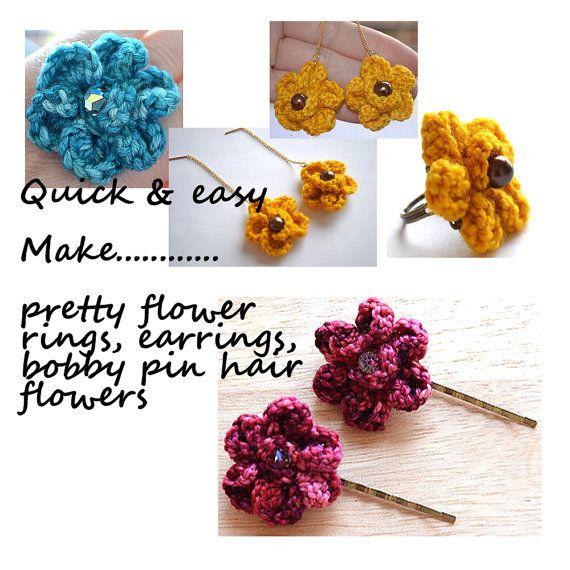 Crochet Jewelry Patterns Crochet Flower Ring Crochet by ...