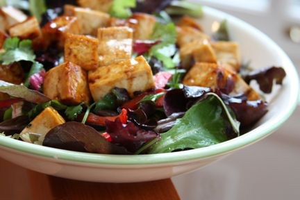 Pistachio-Crusted Tofu Salad with Glazed Turnips | Healthy Bitch Daily
