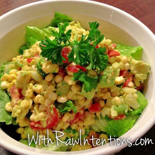 Raw Sweet Corn Salad (sans the garlic) | 80/10/10 Raw Vegan | Pintere ...
