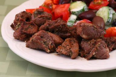 Lamb Souvlaki Recipe: Grilled Lamb Cubes Cooked Greek Style from Kalyn ...