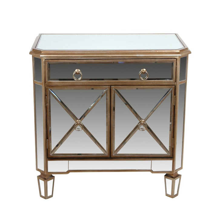 Mirrored 1 drawer accent stand