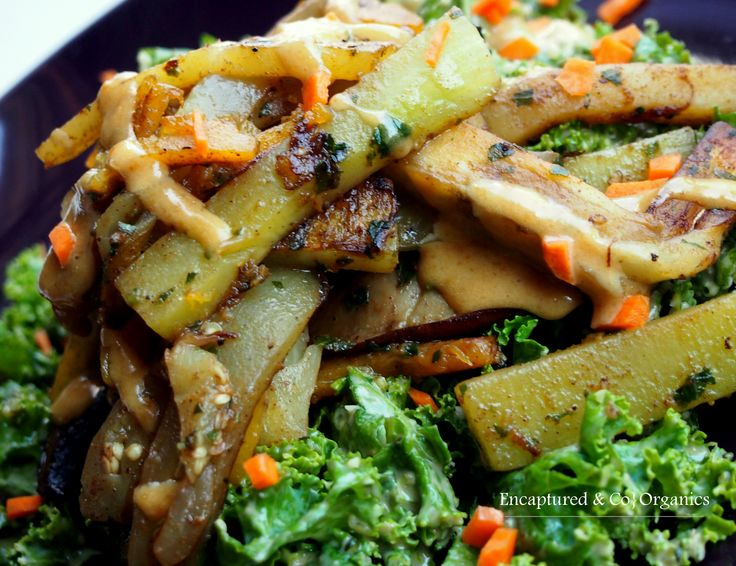 Asian Style Grilled Veggies over Peanut Kale Salad! Grilled Eggplant ...