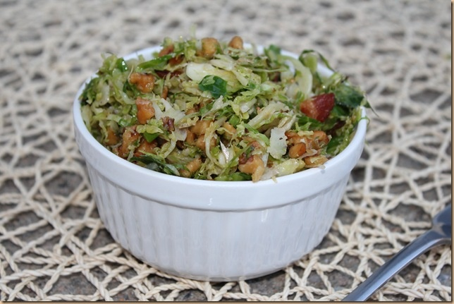 Shredded Brussels Sprouts With Bacon And Walnuts Recipe — Dishmaps