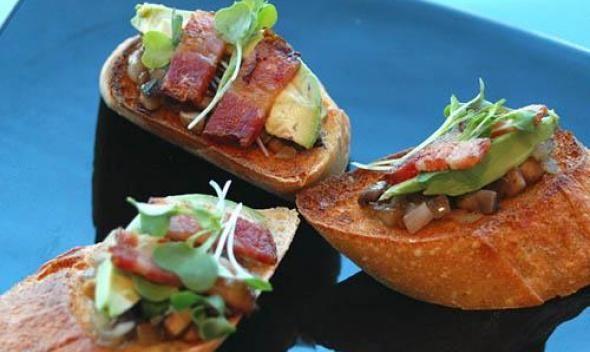 Bruschetta with Mushrooms, Avocado, and Greens recipe picture