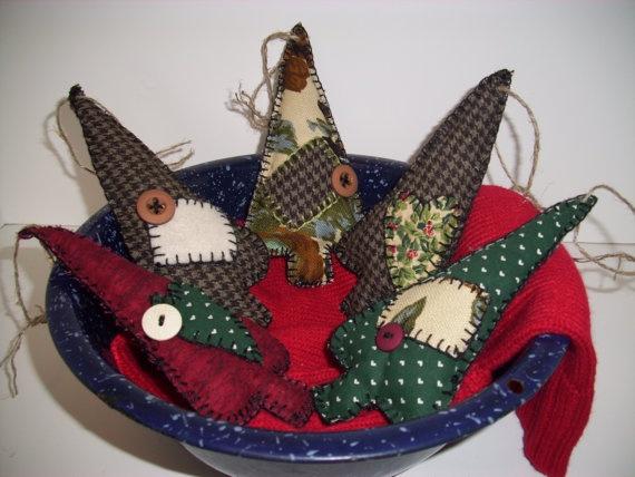 Handmade Ooak Christmas Ornaments Five Primitive Country
