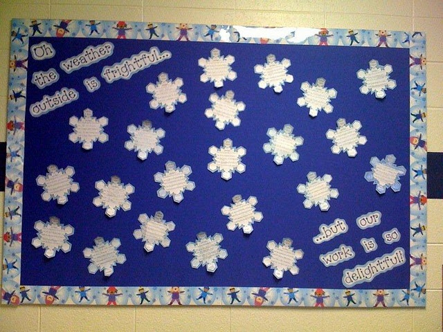Cute display for snowflake poetry winter bulletin boards pinterest