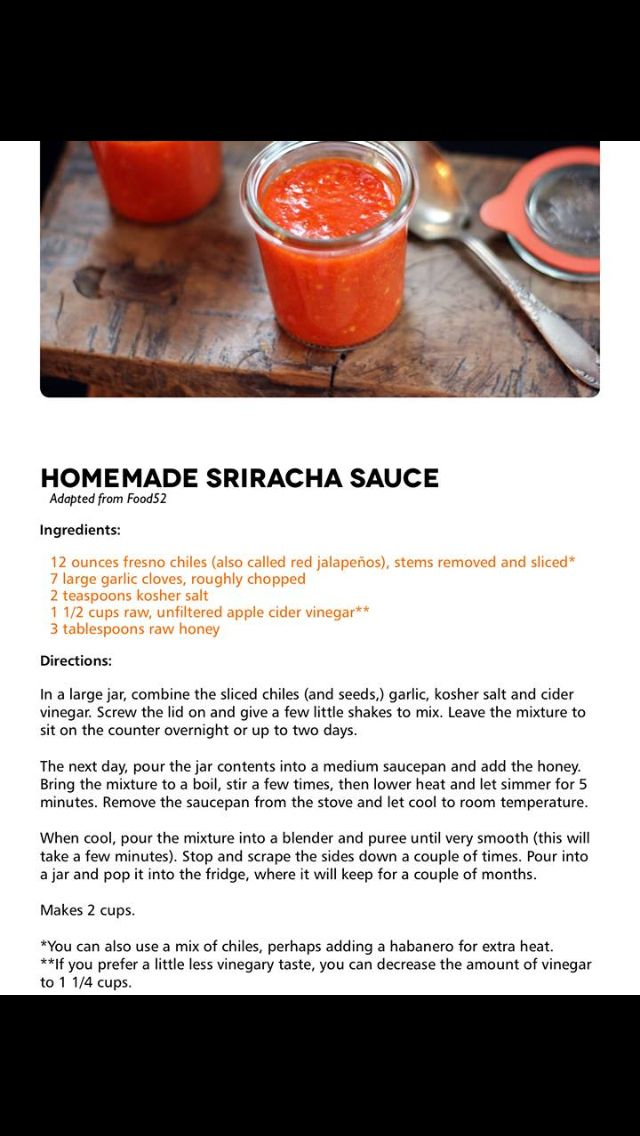 Homemade sriracha   FOOD   Pinterest