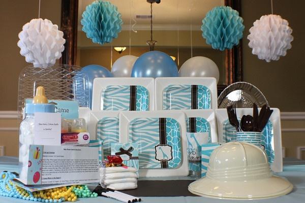blue safari baby shower party decorations pinterest