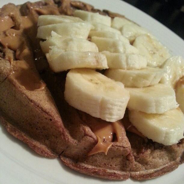 Cocoa whole wheat flaxseed waffle, peanut butter and banana for full ...