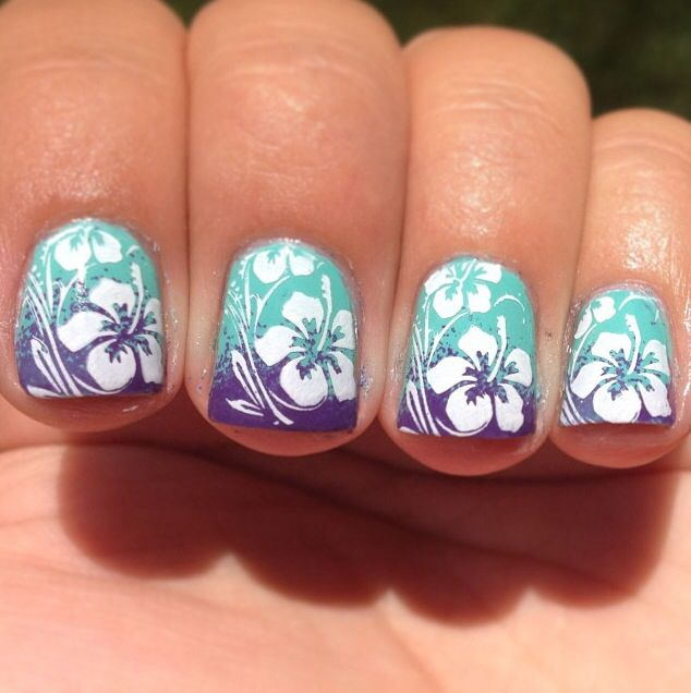 The Exciting Hawaiian flower nail art picture Images