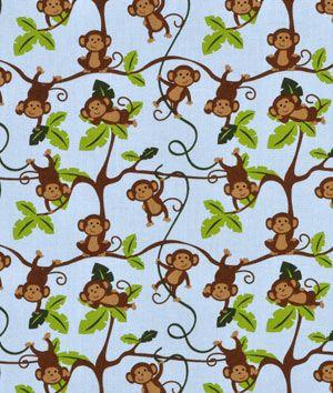 Springs creative nursery jungle 1 2 3 monkeys fabric for Baby monkey fabric prints