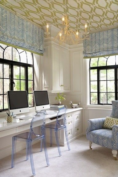 home office, tinted lucite chairs, wallpapered ceiling. love.
