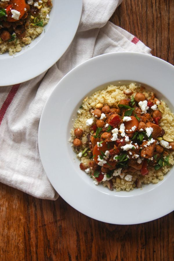 One Pot Moroccan Chicken and Chickpeas with Pistachio Couscous and ...
