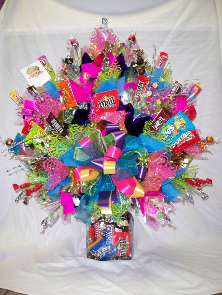 Colorful candy bouquet gift ideas pinterest