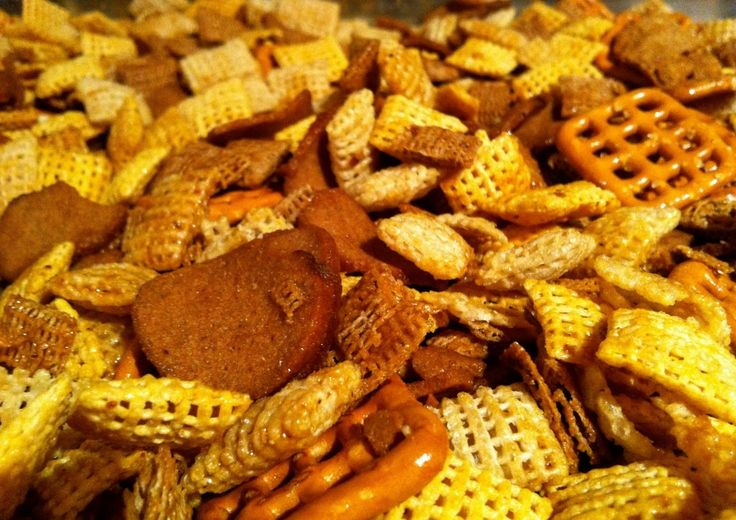 spicy chex party mix. so easy even he can make it.