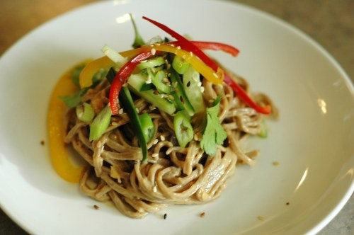 Cold Peanut Sesame Noodles - Of course I'll have to try it with rice ...