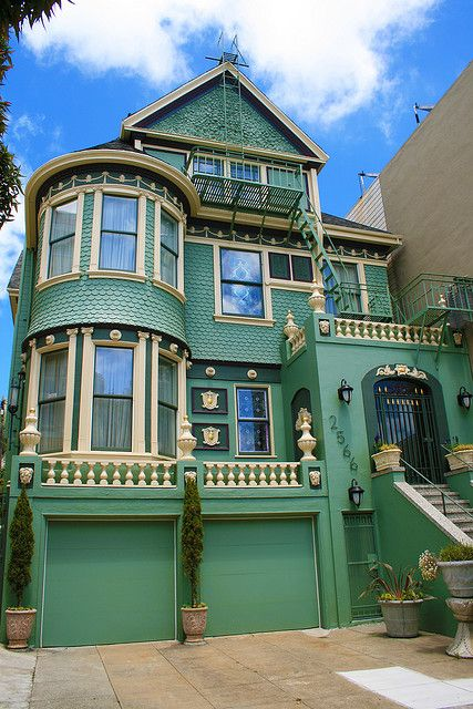 Green Victorian House San Francisco Ca California