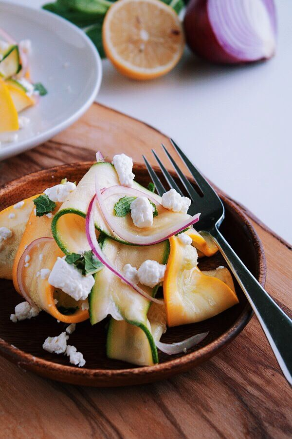 Shaved Summer Squash Salad with Red Onion, Goat Cheese, Mint and Lemon ...