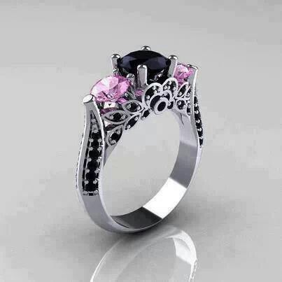Beautiful Black And Pink Engagement Ring Wedding Stuff Party Ideas