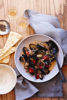 Mussels with tomatoes, wine and herbs..delicious!
