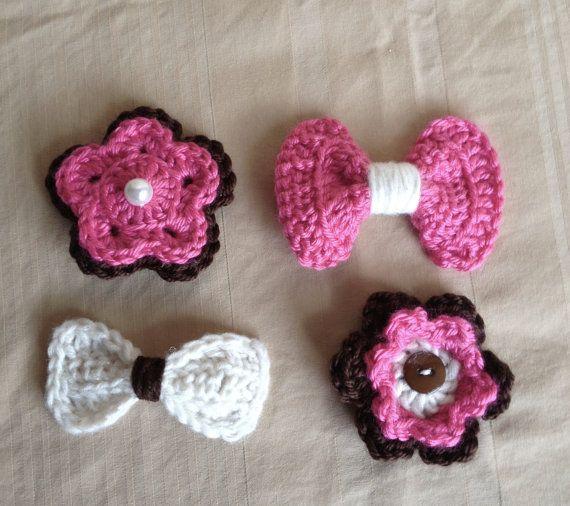 Crochet Hair Clips : Set of 4 Crochet Hair Clips