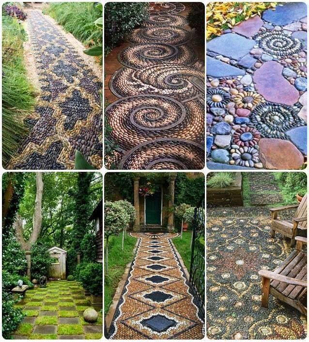 Pebble mosaic garden path outside decor pinterest for Mosaic designs garden