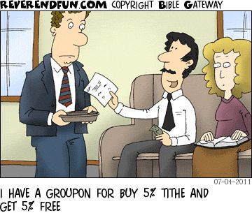 DESCRIPTION: Man handing the usher a printout CAPTION: I HAVE A GROUPON FOR BUY 5% TITHE AND GET 5% FREE