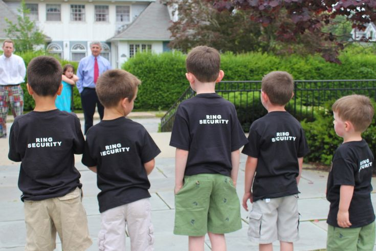 """Ring security"" for ring bearers at rehearsal dinner."
