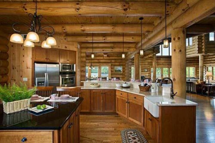 Beautiful Log Cabin Kitchen Kitchen Pinterest