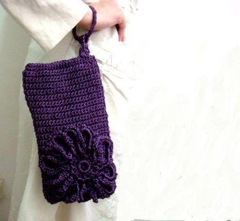 Crochet Wristlet Purse Pattern : PDF CROCHET Pattern Purple Clutch Bag Purse Wristlet