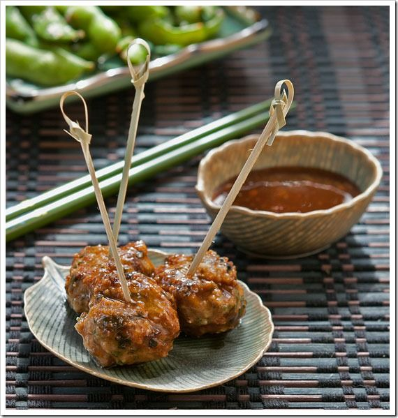 Scallion Meatballs With Soy-Ginger Glaze | Meat meals | Pinterest