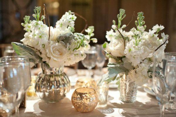 White Mercury Glass Table Arrangement Wedding Decor